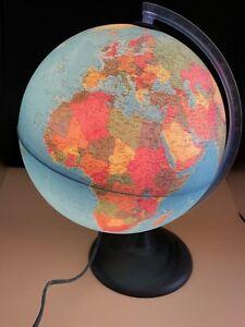 Vintage Technodidattica Large Illuminated World Globe Lamp - Working