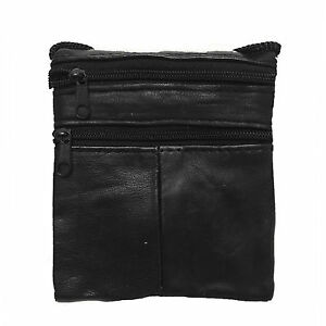Unisex Genuine Leather Cross Body Shoulder Bag Neck Pouch Bag With ID Holder