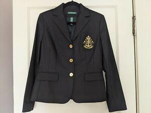 Ralph Lauren Women Gold Button Lined Blazer w/ Crest Crown Size M