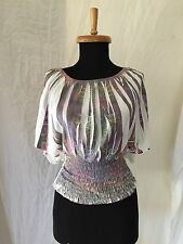 VOICE Brand Pleat Fan Sleeve Ruched Waist Top Size Small - Made in the USA