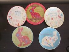 Certified Int. SET OF 4 EASTER BLESSINGS BUNNY TOILE CANAPE CAKE PLATES NIB
