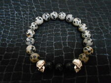 Black Onyx and Leopard Jasper Large Two Skull Bracelet Chrome Baby King