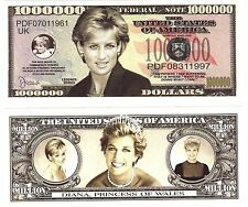 2-Princess Diana Di  Million Dollar Bills  -NOVELTY  -FAKE-Money- item -I
