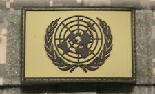 "un flag patch pvc green hook and loop backing united nations tactical 3"" x 2"""