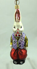 Early 1990's Christopher Radko Rabbit in Purple Vest Ornament Retired