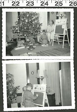 VINTAGE OLD B&W PHOTOS OF LITTLE BOY PLAYING WITH VINTAGE CHRISTMAS TOYS #2740