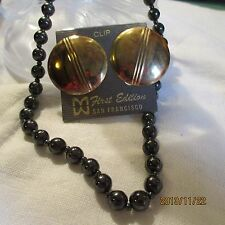 Faux Hematite Beads w. Mini Spacers Necklace Antiqued Goldtone Clip ERs Jewelry