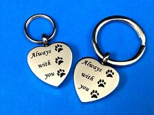 "Pet Cremation Pendant Urn Keychain 1"" Key Ring for Ashes Dog Cat Paw Print Heart"