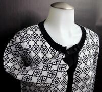 Talbots Women's Black White Arabesque 3/4 Sleeve Cardigan Sweater Size M Medium
