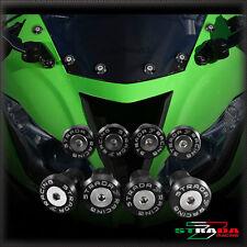 Strada 7 Racing CNC Pare-Brise Vis Carénage Kit 8pc Kawasaki ZX10R 04-14 Noir