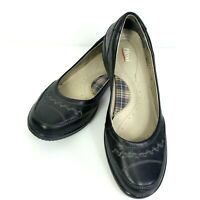 Flexi Black Leather Comfort Shoes Womens 8.5  Slip On Round Toe Walking Driving