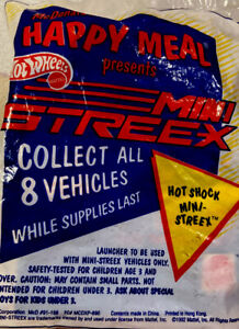 🚗1992 McDonald's Happy Meal Toy Hot Wheels Mini Streex - Hot Shock - Unopened