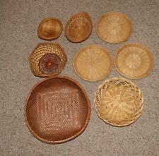 Vintage Lot 8 Woven Wicker Baskets Plate Holders Boho Wall Hanging Decor