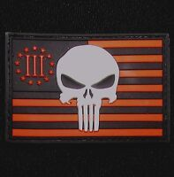 USA PUNISHER 3 PERCENTER RED BLACK OPS US FLAG RUBBER 3D PVC GLOW VELCRO PATCH