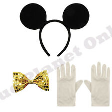 MICKEY MOUSE EARS HEADBAND GOLD BOW TIE & WHITE GLOVES FANCY DRESS BOOK WEEK