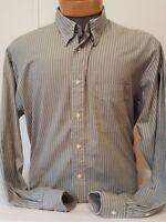 Club Room Mens Green & White Striped Long Sleeve Dress Shirt 16 1/2 34/35