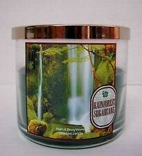 """Bath & Body Works """"RAINFOREST SUGARCANE"""" 3-Wick Candle ~ VERY RARE 1/4 Used"""