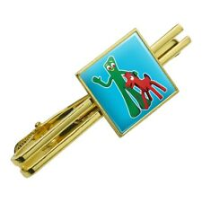 Gumby Pokey Best Friends Clay Art Square Tie Bar Clip Clasp Tack- Silver or Gold