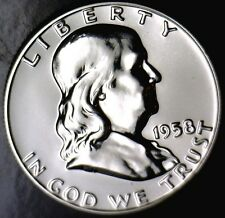 1958 GEM PROOF Franklin Half Dollar BLAST WHITE Silver Coin NO RESERVE FREE SHIP