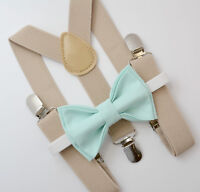 Kids Boys Mens Baby Tan Khaki Suspenders & MINT Bow Tie Infant - ADULT SET