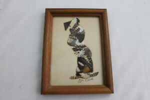 Vintage Butterfly Wing African Tribal Art Picture by Jija Oduka Framed Signed