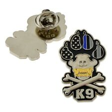 Police K9 Handler Lapel Pin Canine Paw Skull Bones Dog Blue Line Flag 3D Gold