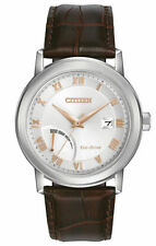 Citizen AW7020-00A Men's Eco Drive Power Reserve Leather Band Analog Watch