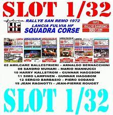 DECAL SLOT 1/32 SET RALLYE SAN REMO 1972 LANCIA FULVIA HF LANCIA TEAM (04)