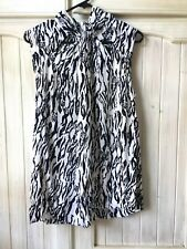 Country Road M Tie Neck Black White Top Animal Print Cutout Sleeveless Blouse