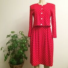 Vintage Top & Skirt Set N.R.1 by Ned Gould Size 8 Red White Polka Dot