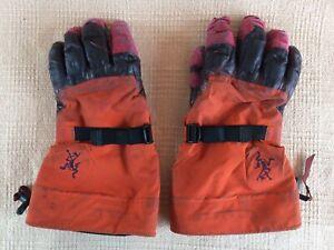 Arcteryx Alpha SV GORE-TEX Polartec Leather Ski Snowboard Orange Glove Sz Medium
