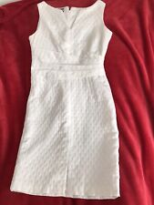 ANNE KLEIN White Textured Special Occasion Work Summer Dress Size UK 10 US 6