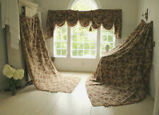 2 Curtains w/ Swag Valance Antique French Victorian Woven Jacquard Fabric 1890