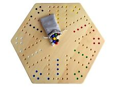"Large Maple Wood Hand-Painted 24"" Aggravation Board Game, Double-Sided"