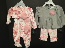 Laura Ashley 0-3 MO Lot of 4 Pieces Footed Romper Leggings Shirt Hat Shower Gift