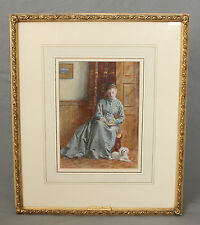 19th C Figural Watercolour Young Lady with Terrier by George Goodwin Kilburne