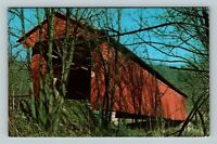 Ripley County IN, Busching Covered Bridge, Chrome Indiana Postcard