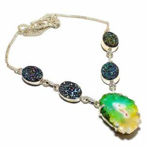 "Bi-Color Solar Quartz Druzy 925 Sterling Silver Jewelry N-65 Necklace 18"""