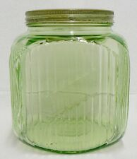 VINTAGE GREEN DEPRESSION GLASS ONE GALLON COOKIE JAR
