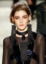 NIB TOM FORD Black Leather Opal Fringed Ebony Beaded STATEMENT Necklace Choker