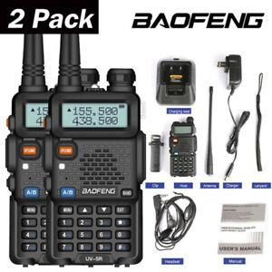 2pcs Baofeng UV-5R Walkie Talkie 5W VHF UHF Dual Band Handheld Two Way Radio