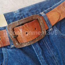 Robert Graham Vintage Inspired Leather Belt w/ Distressed Buckle 32/34 new