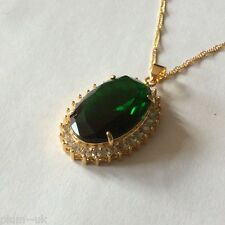 P165 Plum UK Large Emerald + Sim Diamond Pendant & Chain 14k GOLD gf BOXED