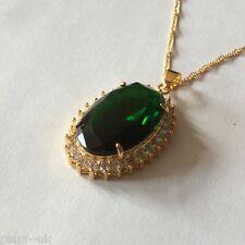P165 Ciruela Reino Unido Gran Esmeralda + Sim Diamante Colgante & Cadena 14k Oro GF En Caja