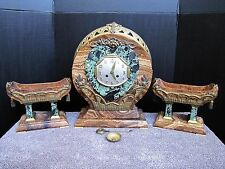 Antique Art Deco French Medaille D'Or Marble Clock w/ Pair of Urns
