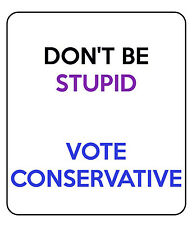 """2 """"Vote Conservative"""" Plastic Stickers.100% Waterproof.Cars or Any Outdoor Use."""