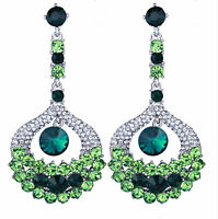 Chandelier Earrings Green Rhinestone Crystal 3.2 inch