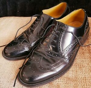 DB CLASSIC BLACK ALL LEATHER BROGUES SHOES UK 8 EURO 42 (MADE IN BRITAIN)VINTAGE