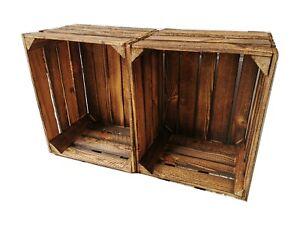 Obstkiste Weinkiste Holzbox Regal Aufbewahrungsbox used geflammt 50x40x30cm 2er