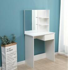 Modern Dressing Table Makeup Desk w/Drawer Mirror White Bedroom Vanity Set